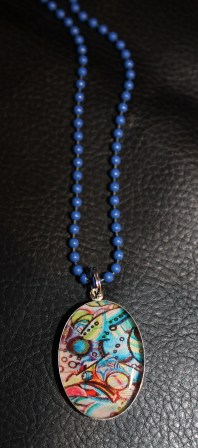SS Oval Pendant w Blue Ball Chain