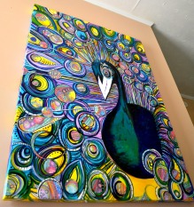 Peacock, 3' x 4' acrylic & collage on canvas