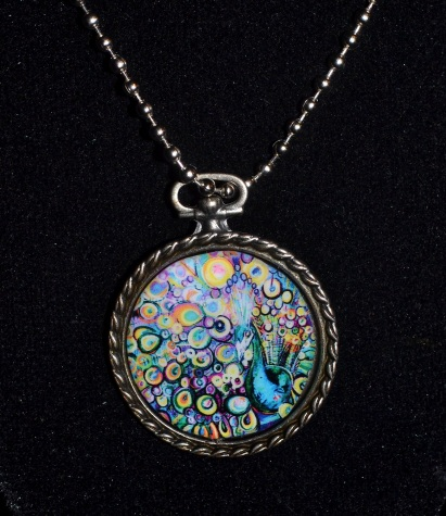 "Round Peacock Pendant with 16"" ball chain"