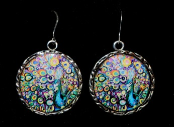 Round Peacock Earrings with SS earring wires