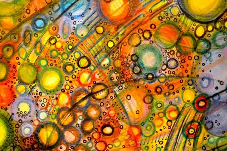 "Satellite City, 11"" x 15"", watercolor & color pencil on paper"