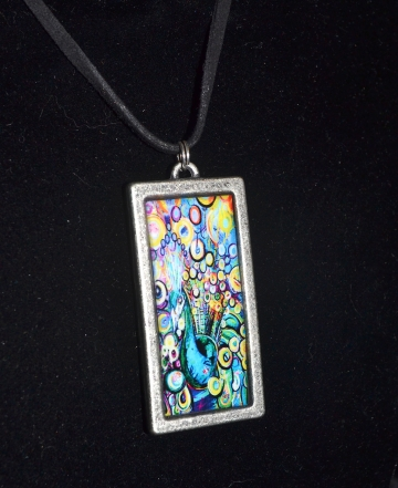 Rectangular Peacock Pendant with black cord