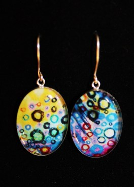 SS Oval Earrings with circle art image