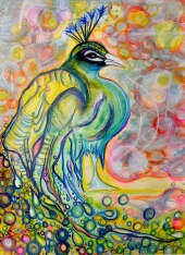 """Pavo, 22"""" x 30"""", watercolor on paper"""