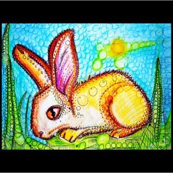 "Rabbit, 11"" x 15"", watercolor pencil on paper"