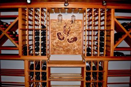 Wine Cork Art, Custom wine cellar installation