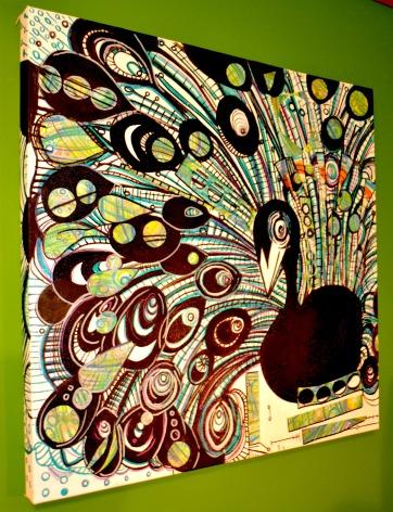 "Black & White Peacock, 20"" x 20"", mixed media on canvas"