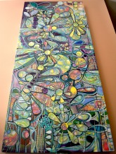 """Visions of Summer, 5' 6"""" x 2' 6"""", mixed media on canvas"""