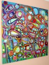 "Paradise, 36"" x 36"", mixed media on canvas"
