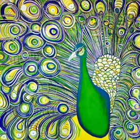 "Royal Peacock, 48"" x 48"""