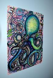 "Octopus, 9"" x 12"""