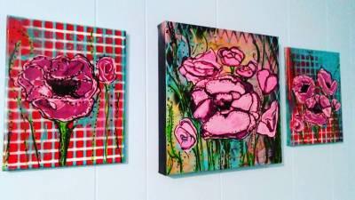 "Flower Triptych, side panels 8"" x 10"" center 12"" x 12"""